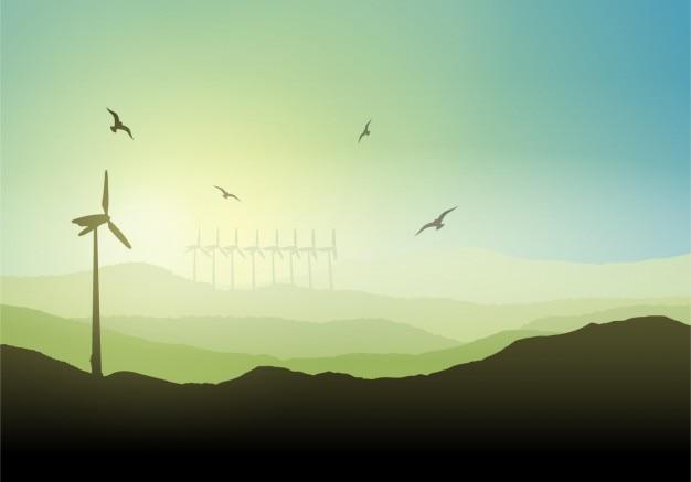 Éolienne sur un fond de paysage Vecteur gratuit