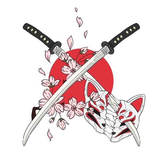 Épée D'illustration Dessinée à La Main Et Masque De Style Japonais Vecteur Premium