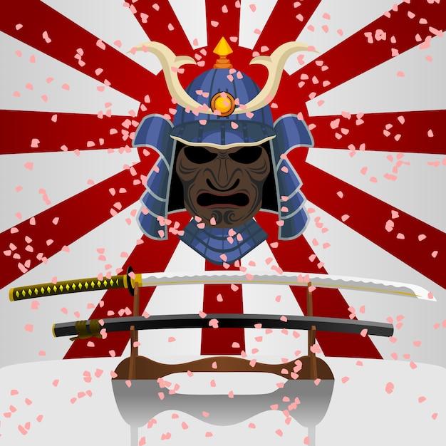 Épée de katana japonaise et masque de chasse samouraï Vecteur Premium