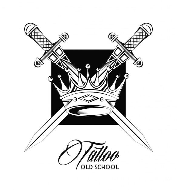 Épée de tatouage old school et conception de dessin de la couronne
