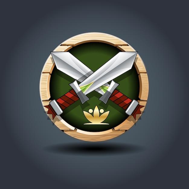 Épées croisées Vecteur Premium