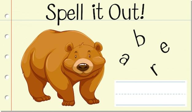 Épeler Le Mot Anglais Bear Vecteur gratuit