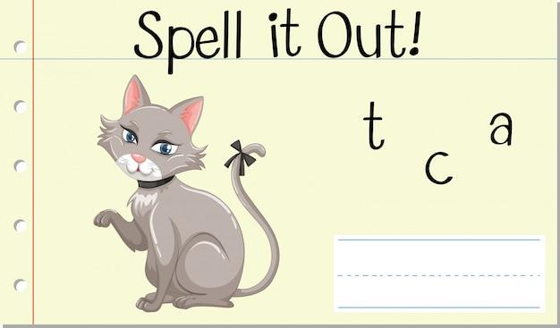 Épeler Mot Anglais Chat Vecteur gratuit