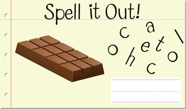 Épeler Mot Anglais Chocolat Vecteur gratuit