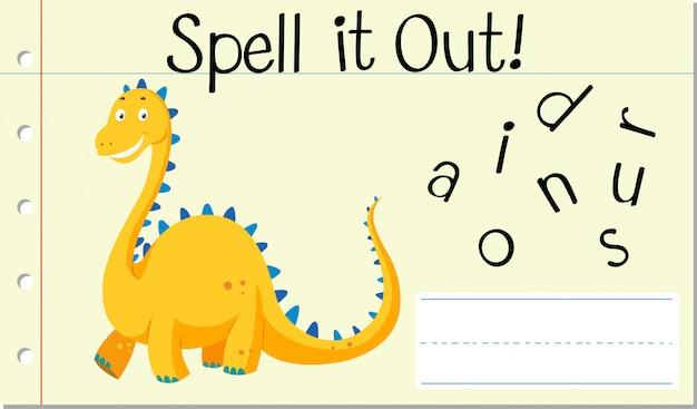 Épeler Le Mot Anglais Dinosaure Vecteur gratuit