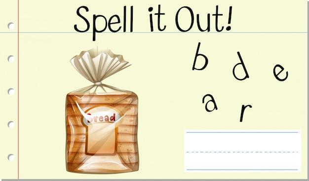 Épeler mot anglais pain Vecteur gratuit
