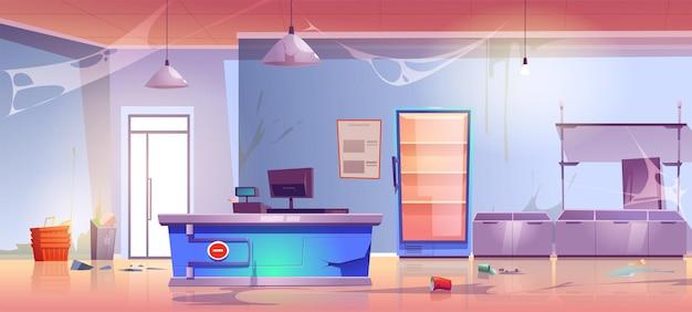 Épicerie Abandonnée Avec Bureau De Caisse Fissuré, Déchets De Dispersion, Toile D'araignée, étagères Cassées Et Réfrigérateur Vecteur gratuit