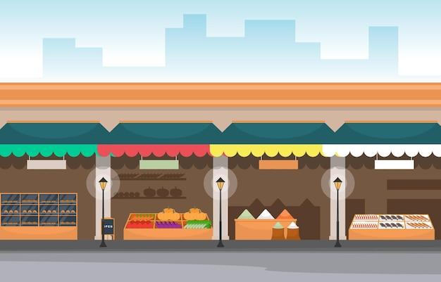 Épicerie De Stand De Magasin De Légumes De Fruits Sains Dans L'illustration De La Ville Vecteur Premium