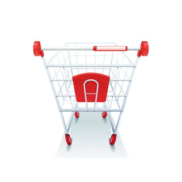 Épicerie de supermarché enrobée de charrette à bras en plastique rouge avec poignée en plastique Vecteur gratuit
