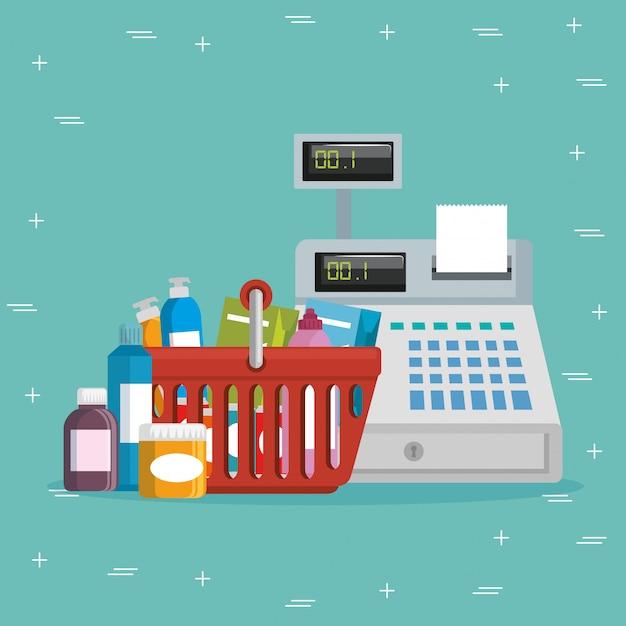 Épicerie de supermarché mis des icônes Vecteur gratuit
