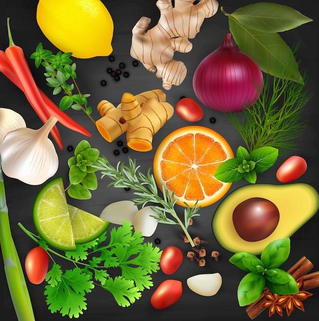 Épices, condiments et herbes sur le fond de la table noire Vecteur Premium