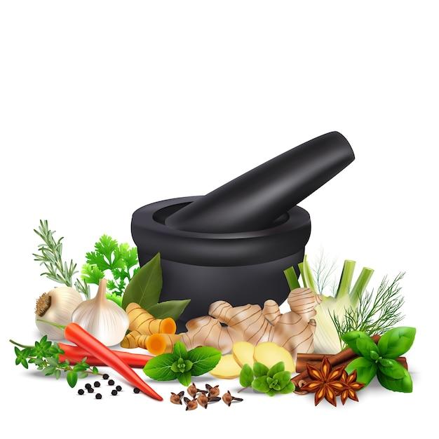 Épices Et Herbes Avec Du Mortier Vecteur Premium