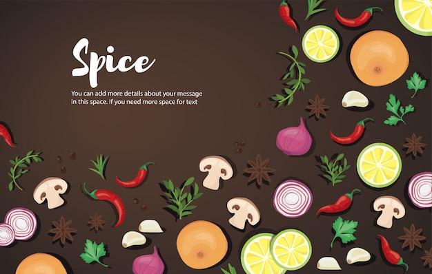 Epices et légumes Vecteur Premium