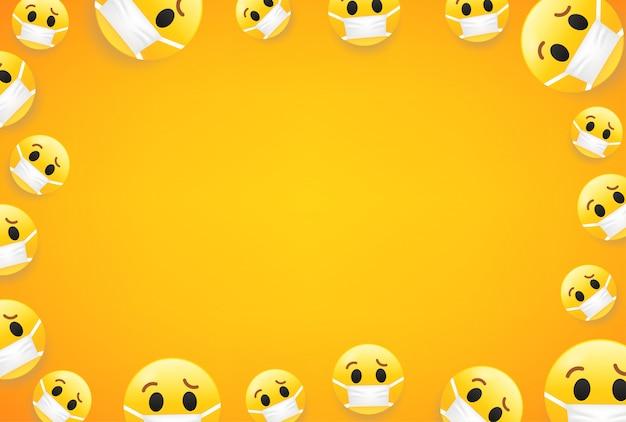 Epidemie Fond D Ecran Avec Des Emojis Cadre De Vecteur Avec Espace De Copie Pour Les Sites Web De Medias Sociaux Ou Les Bannieres Vecteur Premium