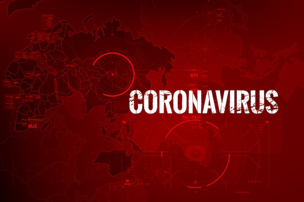Épidémie De Texte Sur Le Coronavirus Avec La Carte Du Monde Et Le Hud Vecteur Premium