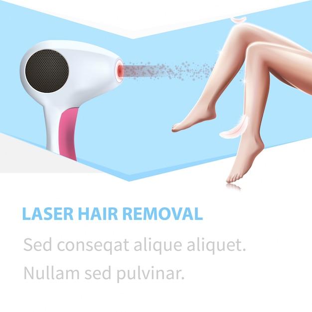 Épilation Laser. Jambes De Femme Light Feather Touch Vecteur Premium