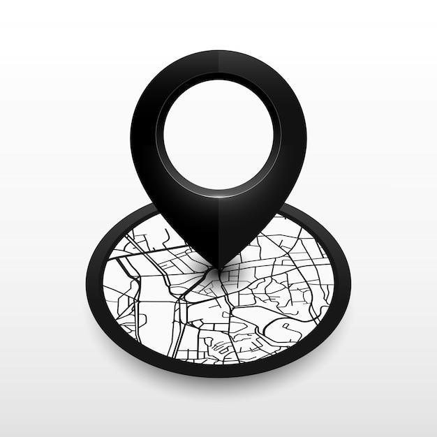 Épingle de localisation isométrique avec carte de la ville. icône design blackcolor Vecteur Premium
