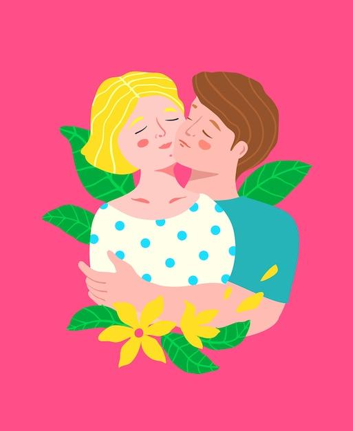 Épouse Et Mari Ou Jeune Couple Romantique Se Tenant, Embrassant Joue Contre Joue Avec Des Fleurs Colorées. Vecteur Premium