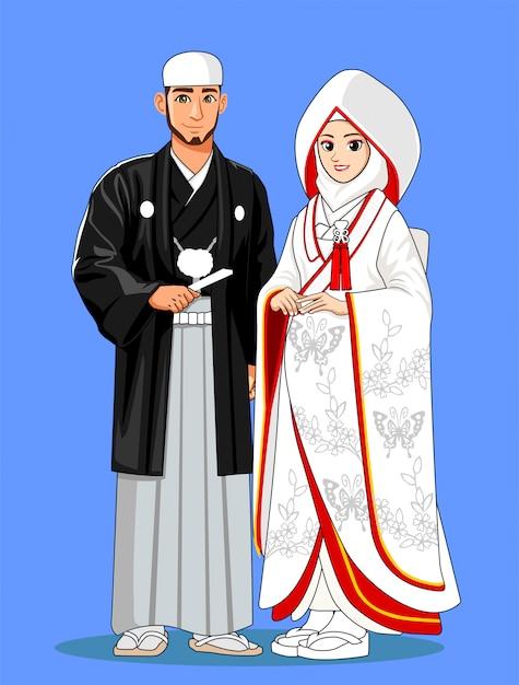 Épouses Japonaises Musulmanes Avec Des Vêtements Traditionnels. Vecteur Premium