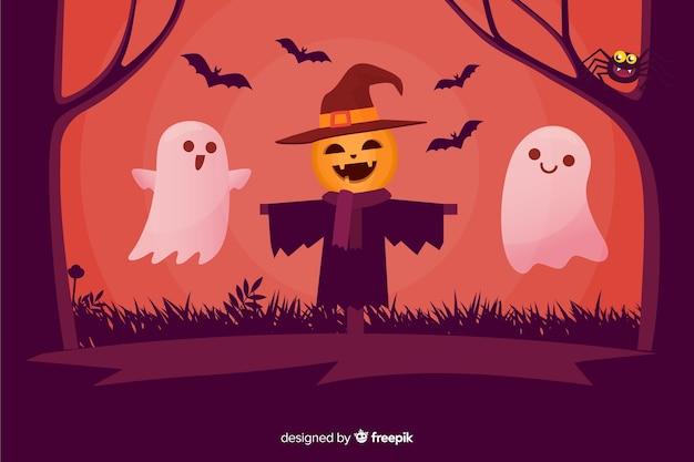 Épouvantail heureux et fantômes fond d'halloween Vecteur gratuit