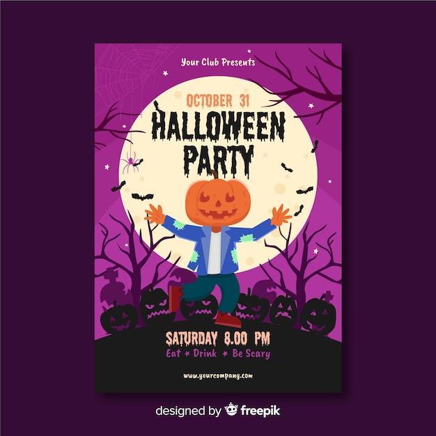 Épouvantail avec tête de citrouille flyer de fête d'halloween Vecteur gratuit