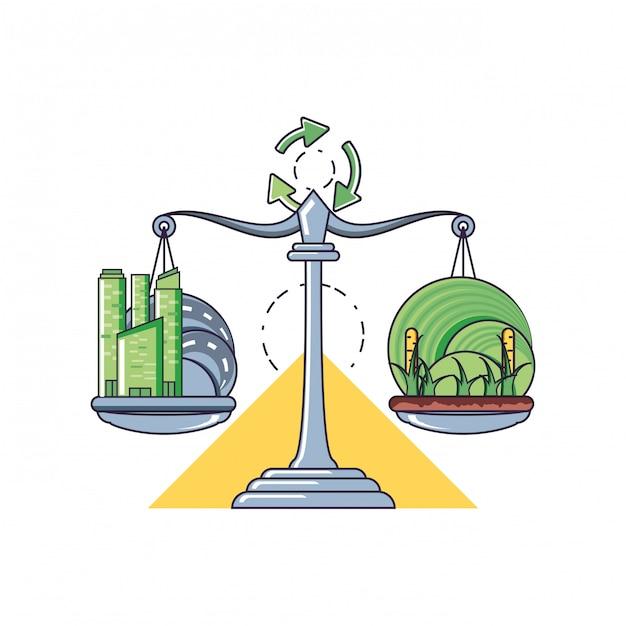 Équilibre et durabilité Vecteur Premium