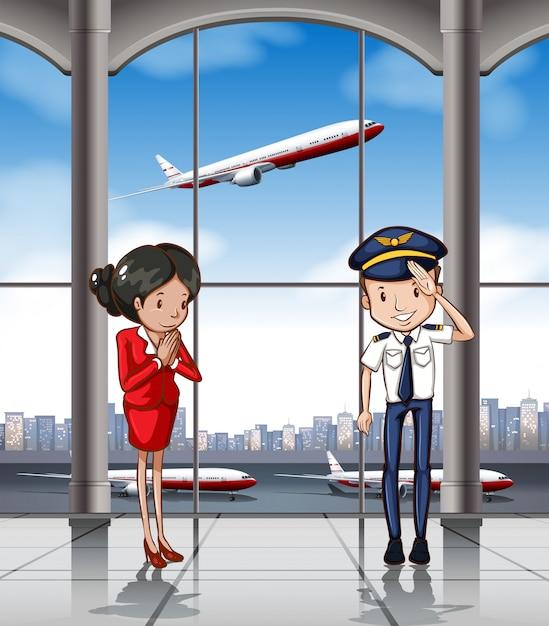 Équipage de cabine à l'aéroport Vecteur gratuit