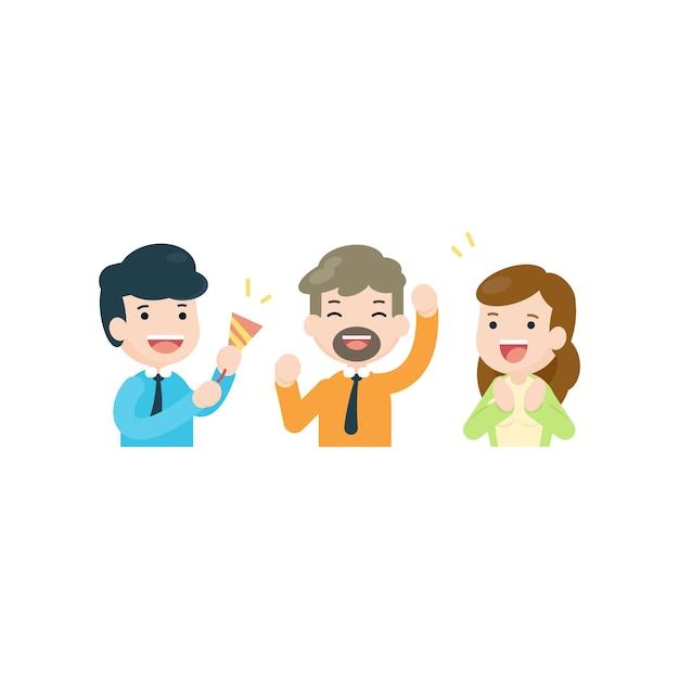 Équipe des activités célébrant ensemble, gens heureux concept de réussite, illustration vectorielle. Vecteur Premium