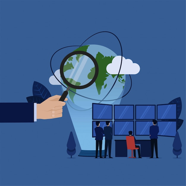 L'équipe des affaires analyse les données du monde entier sur grand écran vierge. Vecteur Premium