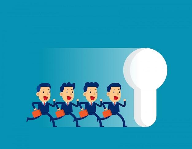 Équipe des affaires en cours d'exécution à grande trou de serrure Vecteur Premium