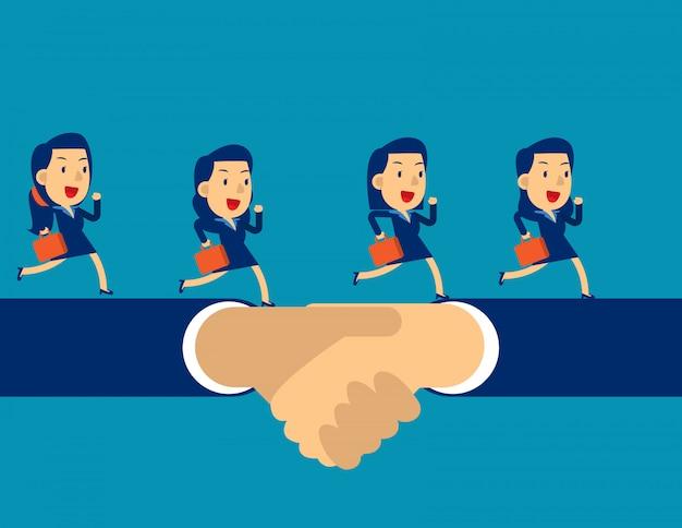 Équipe des affaires en cours d'exécution sur la poignée de main Vecteur Premium
