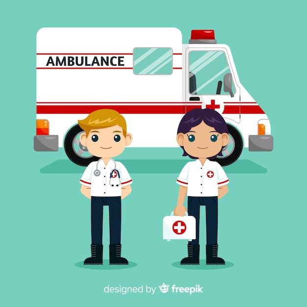 Équipe ambulance plate Vecteur gratuit