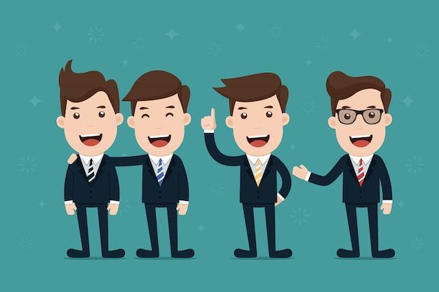 Équipe de caractère d'homme d'affaires. Vecteur Premium