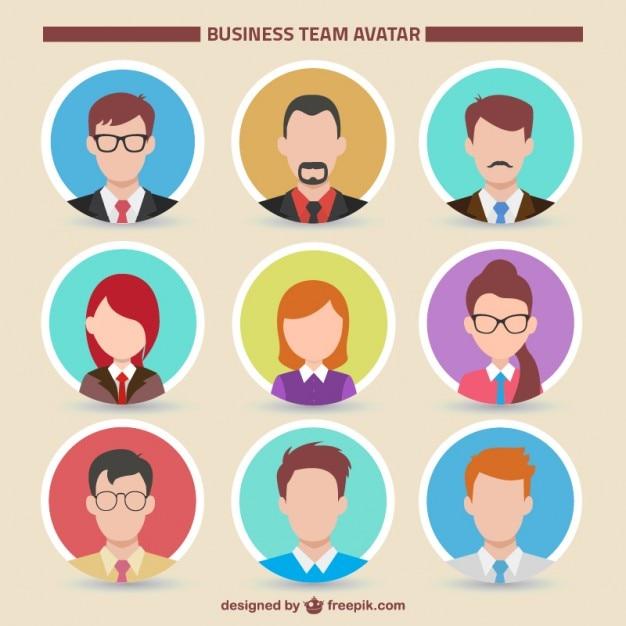 Équipe collection avatar d'affaires Vecteur gratuit