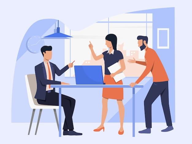 Équipe Commerciale Discutant Du Projet Vecteur gratuit