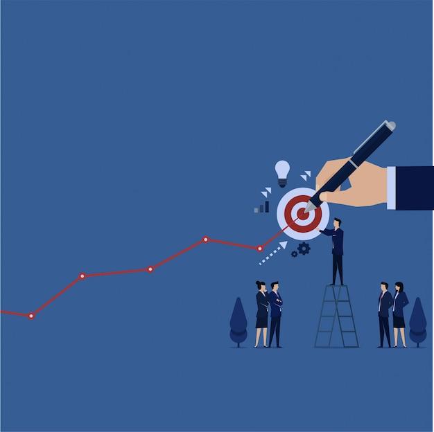 L'équipe commerciale met l'objectif pour le prochain bénéfice et réalise manuellement le bénéfice du graphique. Vecteur Premium