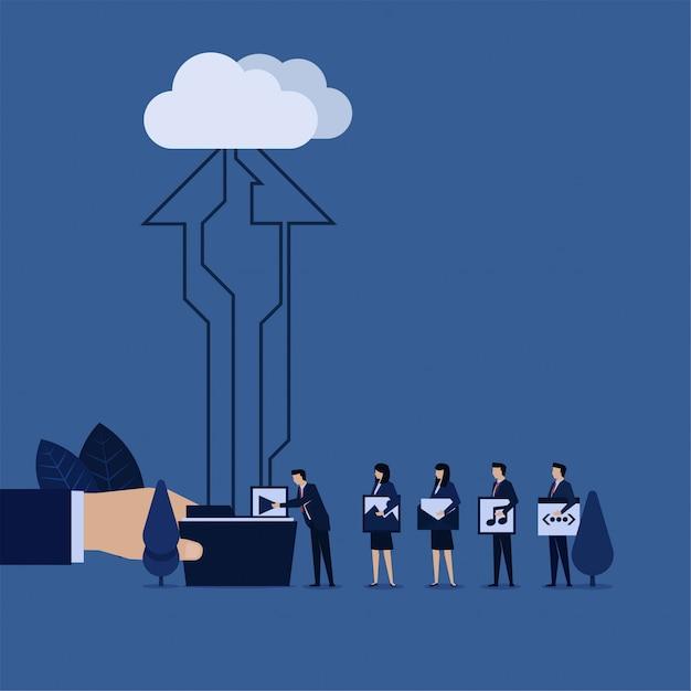 L'équipe commerciale a mis le site web de contenu sur le téléchargement de dossiers sur le cloud. Vecteur Premium