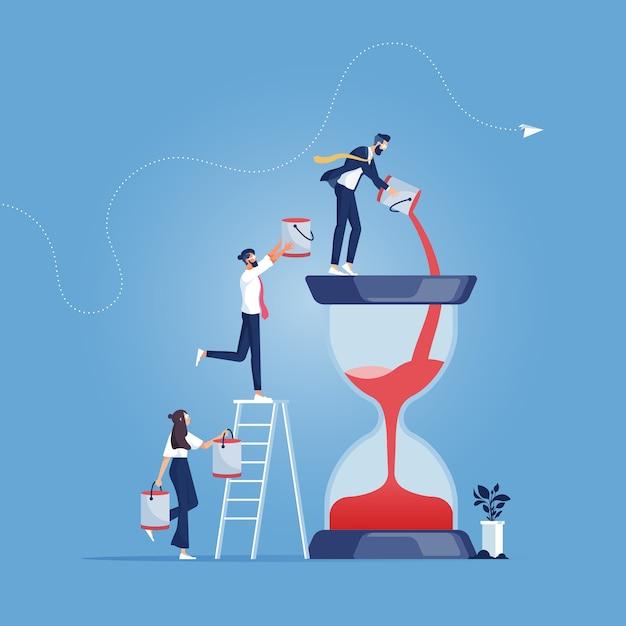 Équipe Commerciale Versant Du Sable Supplémentaire Dans Le Concept De Gestion Hourglass-time Vecteur Premium