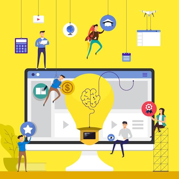 Équipe De Concept Travaillant Pour La Création De Cours En Ligne E-learning Sur Ordinateur De Bureau. Illustrer. Vecteur Premium