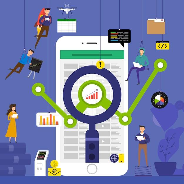 Équipe De Concept Travaillant Pour Les Données D'analyse Technologique Sur Mobile. Illustrer. Vecteur Premium