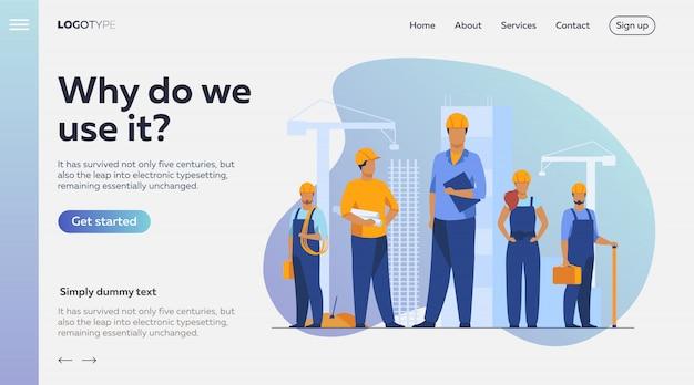 Équipe De Construction Travaillant Sur Site Vecteur gratuit