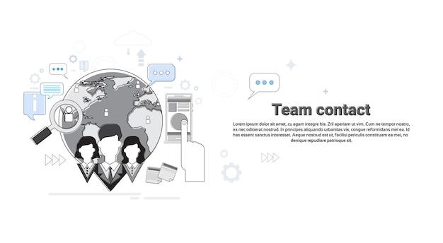 Équipe contact informations sur l'entreprise connexion concept bannière thin line vector illustration Vecteur Premium