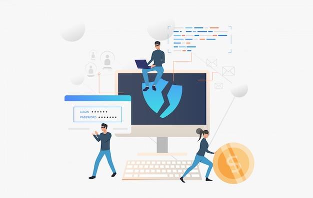Une équipe de cybercriminalité pirate l'ordinateur Vecteur gratuit