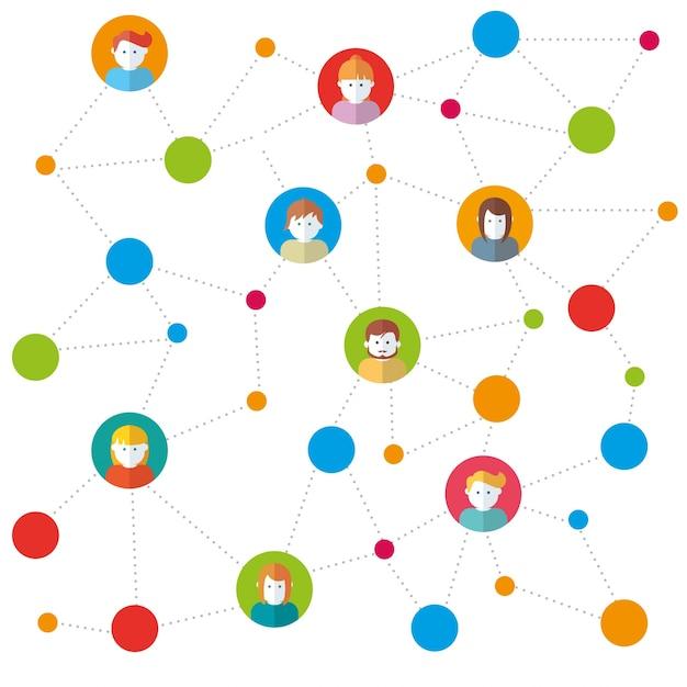 Équipe dans les réseaux sociaux travaillant illustration vectorielle Vecteur gratuit