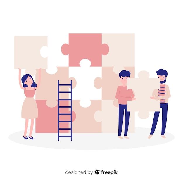 Équipe dessiné main faisant puzzle fond Vecteur gratuit