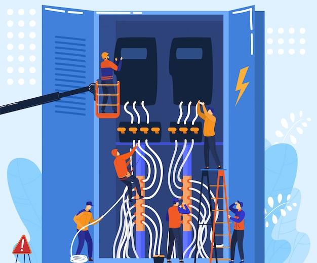 Équipe D'électricien Travaille Avec Panneau électrique, Concept De Personnages De Dessin Animé De Minuscules Personnes, Illustration Vecteur Premium