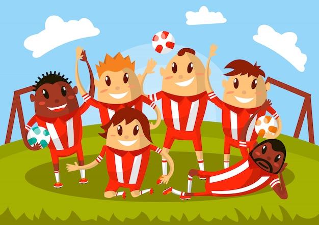 Équipe de football agitant les mains et souriant pour photo. Vecteur Premium