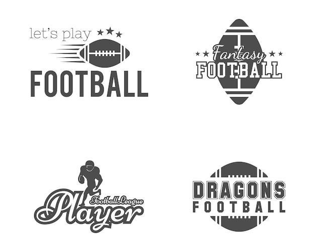 Équipe De Football Américain, Badges Universitaires. Vecteur Premium