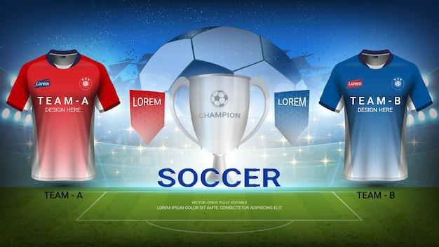 L'équipe de football a vs l'équipe b, tournoi final match of sport Vecteur Premium