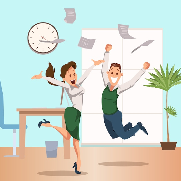 Équipe de gens d'affaires en train de célébrer la victoire Vecteur Premium